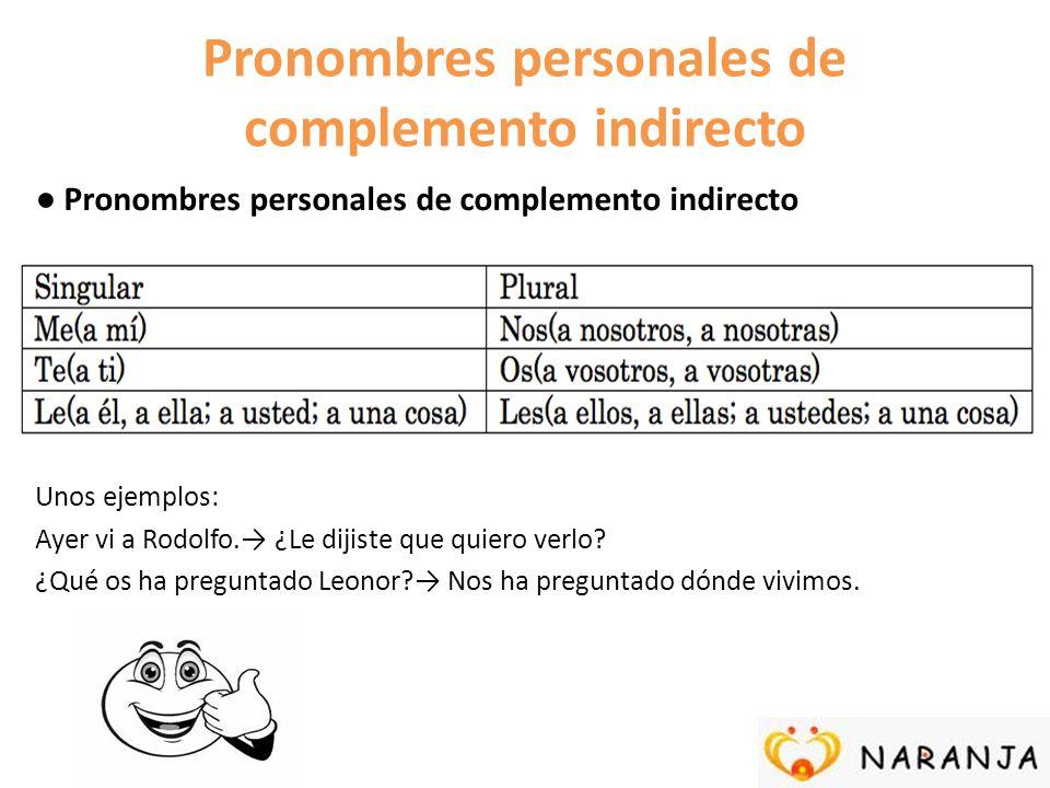 Pronombres personales de complemento indirecto