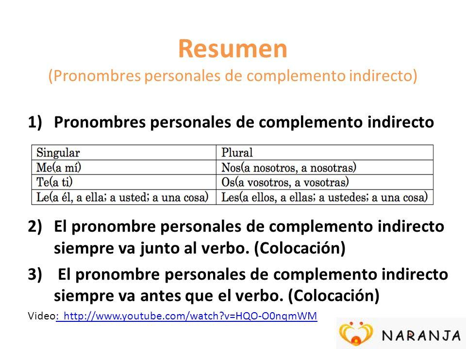 Resumen (Pronombres personales de complemento indirecto)