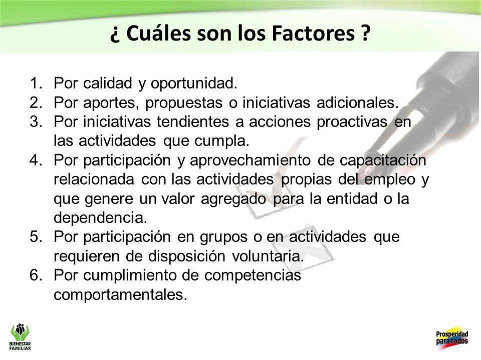 ¿ Cuáles son los Factores
