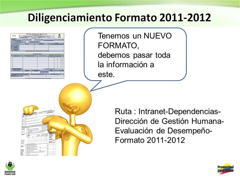 Diligenciamiento Formato 2011-2012