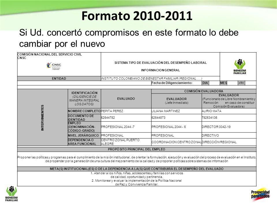 Formato 2010-2011 Si Ud. concertó compromisos en este formato lo debe cambiar por el nuevo.