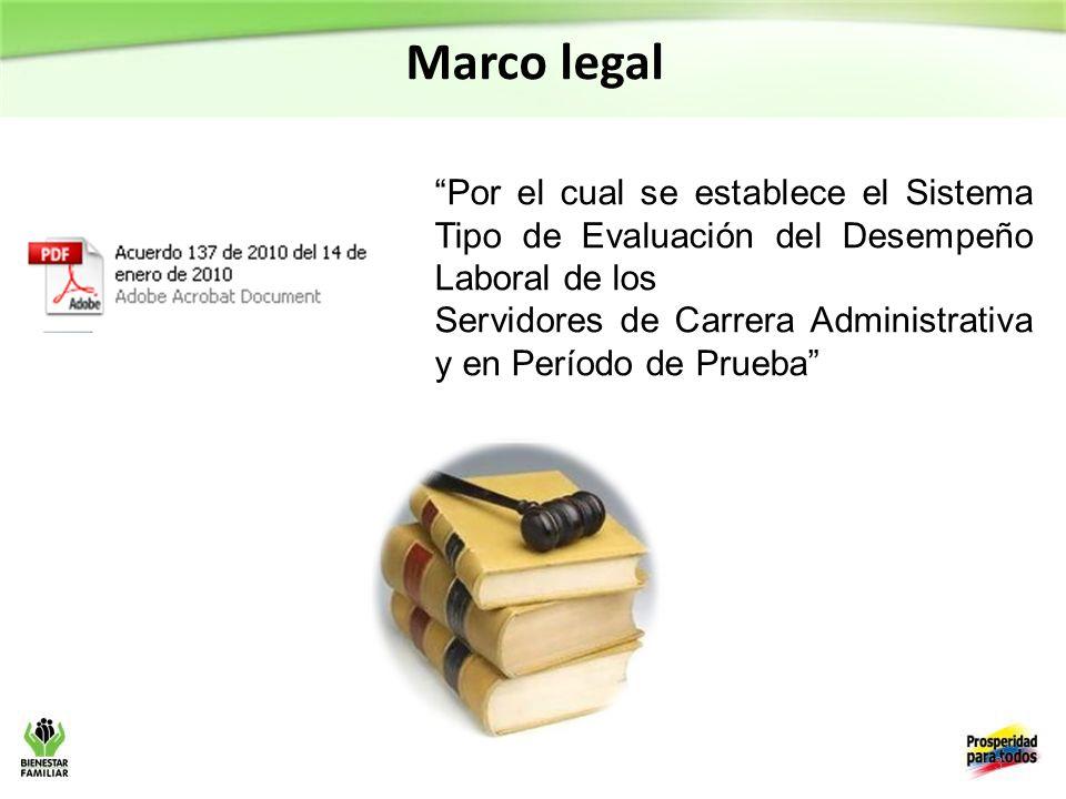 Marco legal Por el cual se establece el Sistema Tipo de Evaluación del Desempeño Laboral de los.