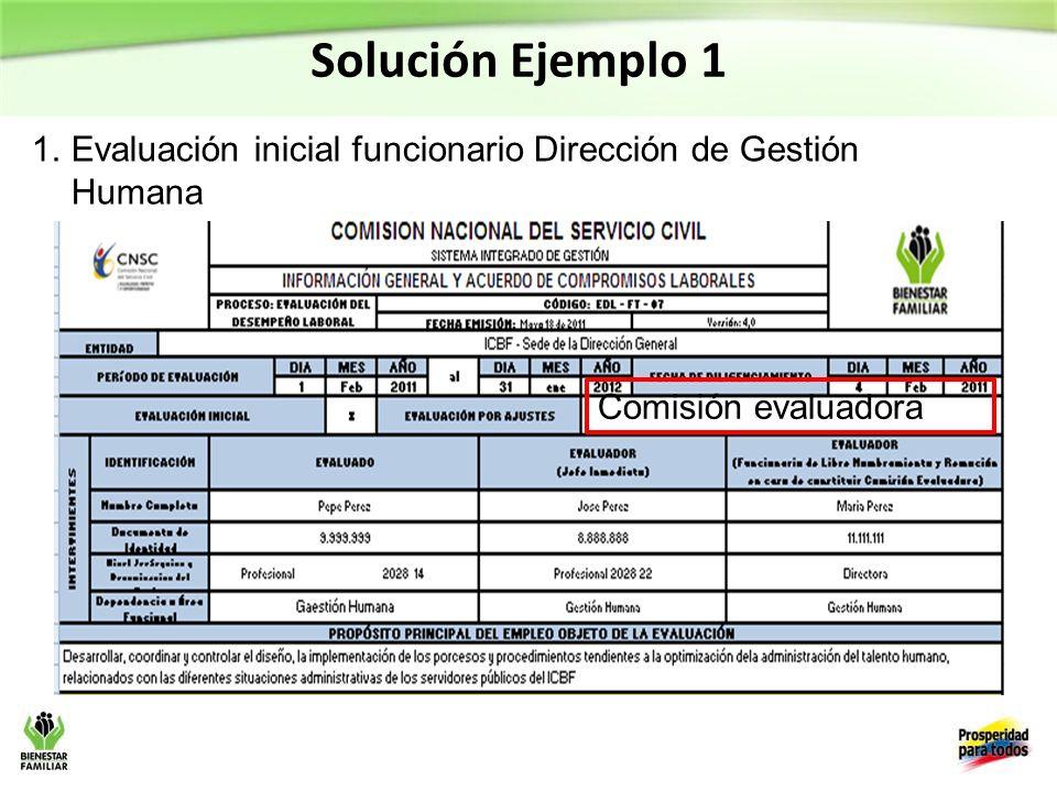 Solución Ejemplo 1 Evaluación inicial funcionario Dirección de Gestión Humana Comisión evaluadora