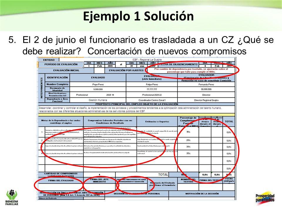 Ejemplo 1 Solución El 2 de junio el funcionario es trasladada a un CZ ¿Qué se debe realizar.