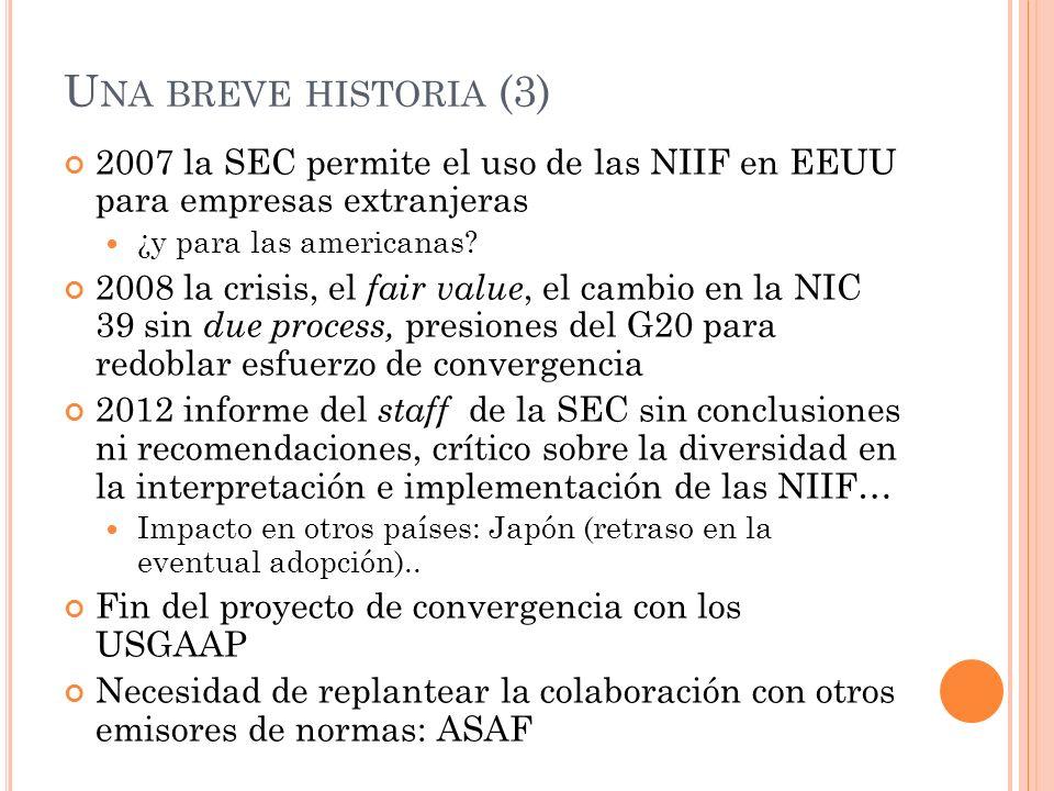 Una breve historia (3) 2007 la SEC permite el uso de las NIIF en EEUU para empresas extranjeras. ¿y para las americanas