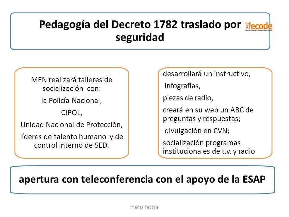 Pedagogía del Decreto 1782 traslado por seguridad