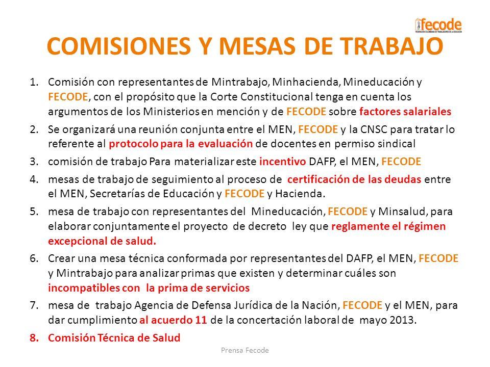 COMISIONES Y MESAS DE TRABAJO