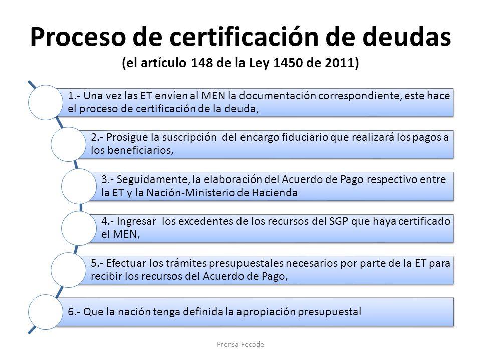Proceso de certificación de deudas (el artículo 148 de la Ley 1450 de 2011)