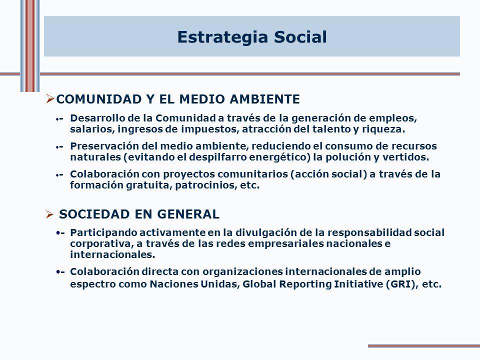 Estrategia Social COMUNIDAD Y EL MEDIO AMBIENTE SOCIEDAD EN GENERAL