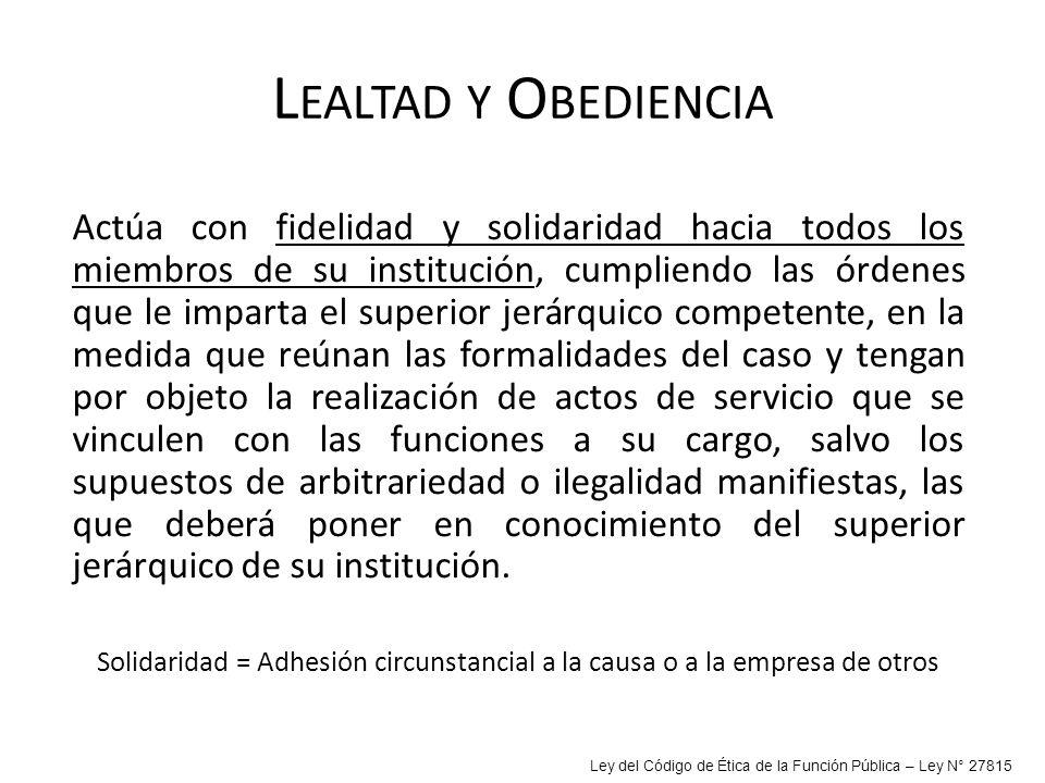 Lealtad y Obediencia