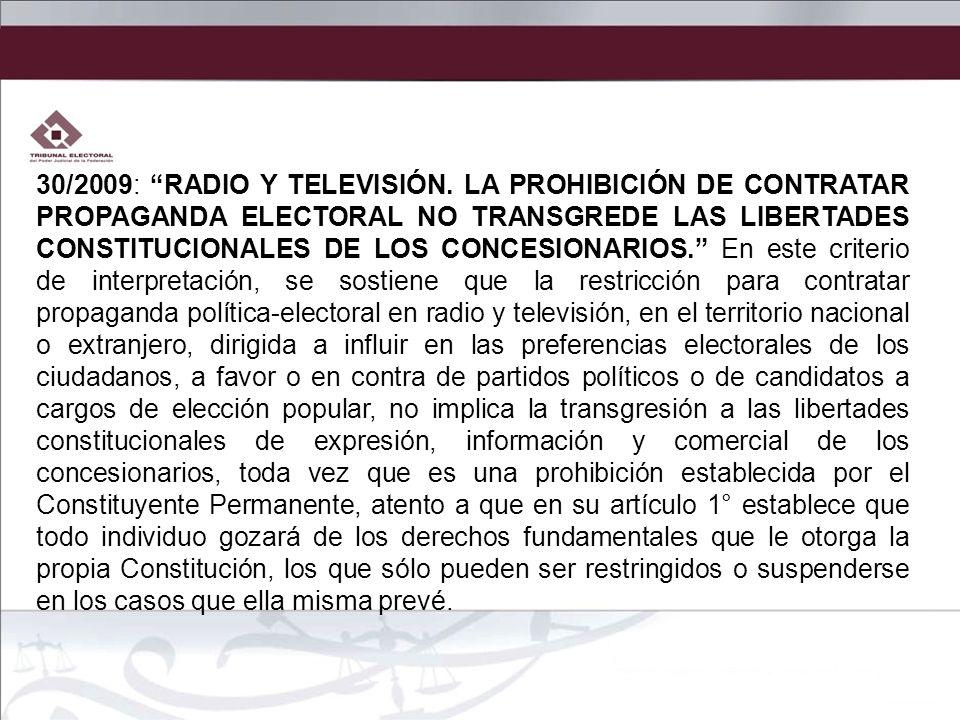30/2009: RADIO Y TELEVISIÓN.