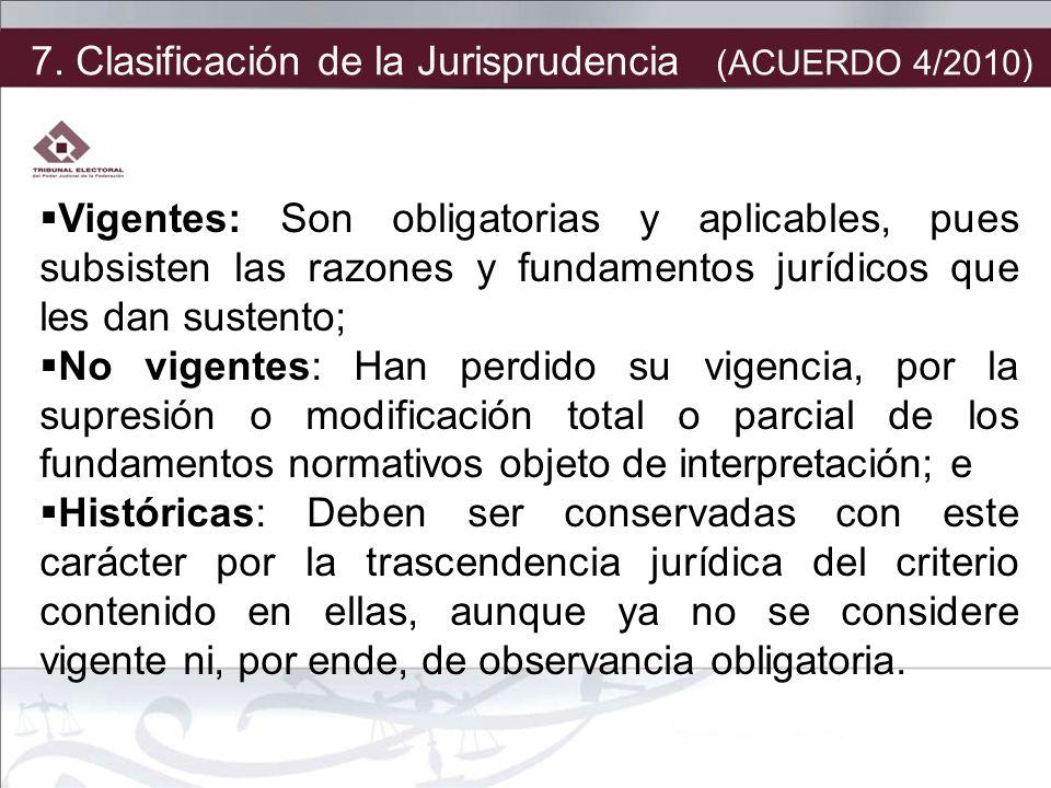 7. Clasificación de la Jurisprudencia (ACUERDO 4/2010)