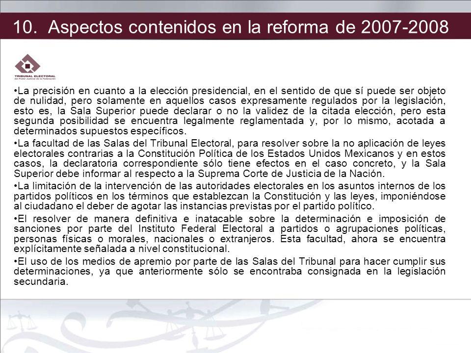 10. Aspectos contenidos en la reforma de 2007-2008
