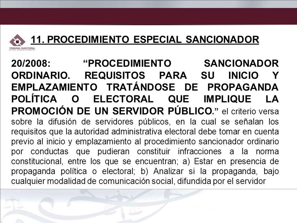 11. PROCEDIMIENTO ESPECIAL SANCIONADOR
