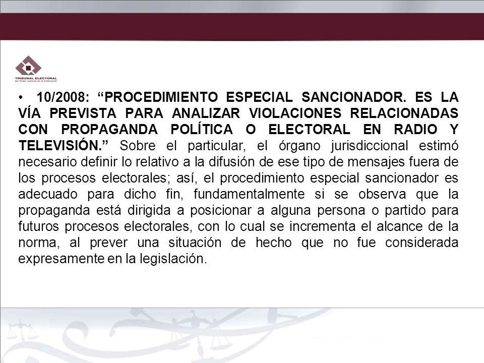 10/2008: PROCEDIMIENTO ESPECIAL SANCIONADOR