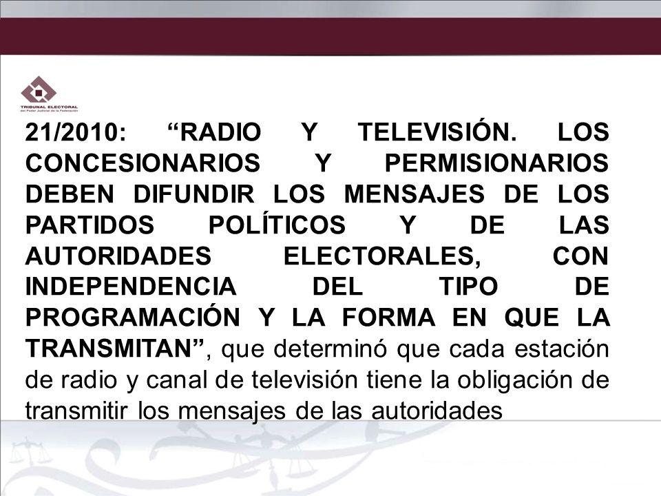 21/2010: RADIO Y TELEVISIÓN.