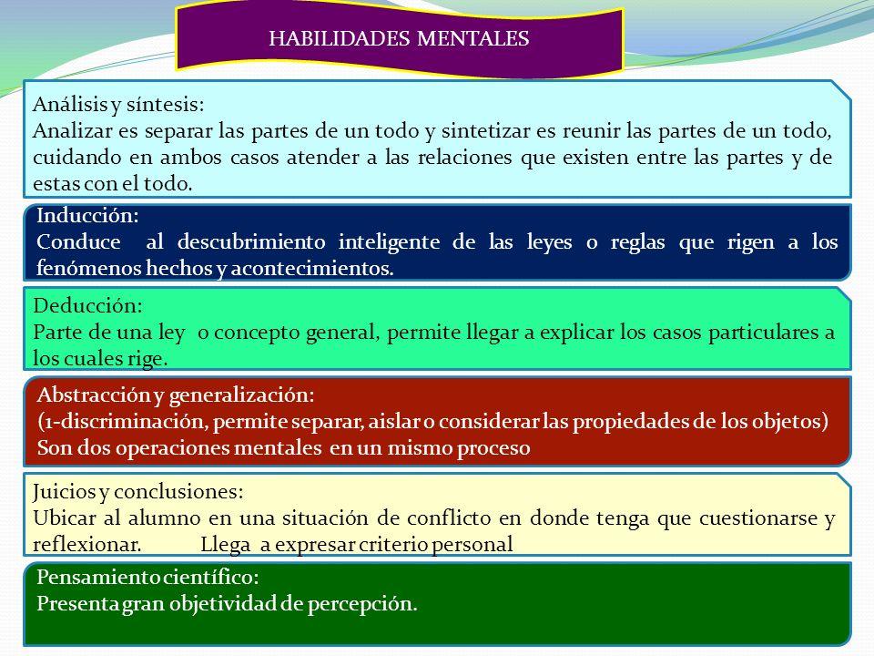 HABILIDADES MENTALES Análisis y síntesis: