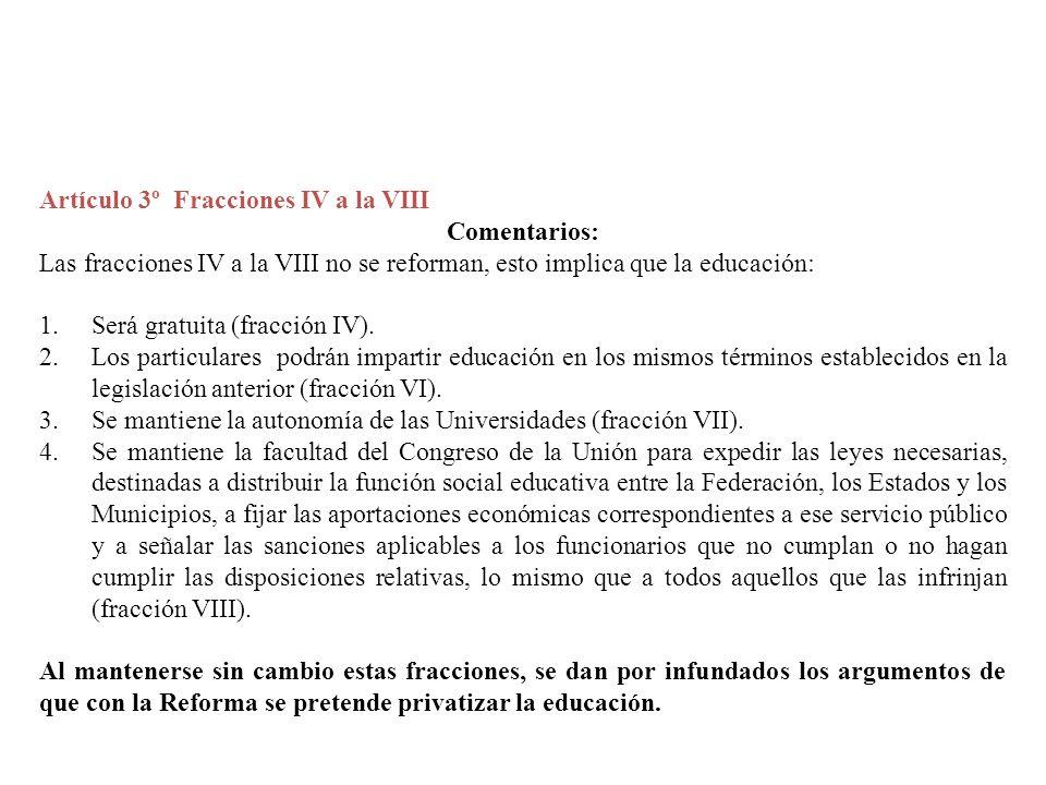 Artículo 3º Fracciones IV a la VIII