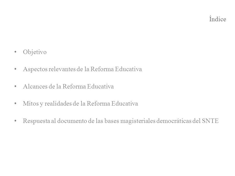 Índice Objetivo. Aspectos relevantes de la Reforma Educativa. Alcances de la Reforma Educativa. Mitos y realidades de la Reforma Educativa.