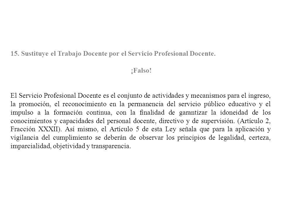 15. Sustituye el Trabajo Docente por el Servicio Profesional Docente.