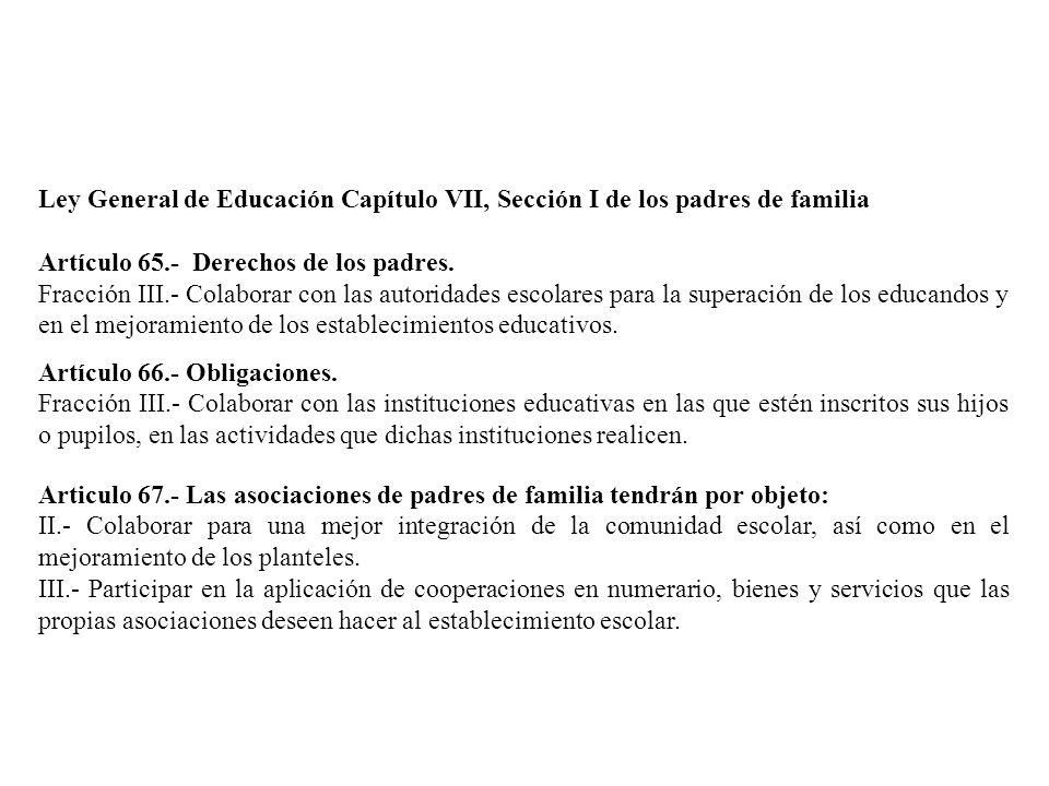 Ley General de Educación Capítulo VII, Sección I de los padres de familia