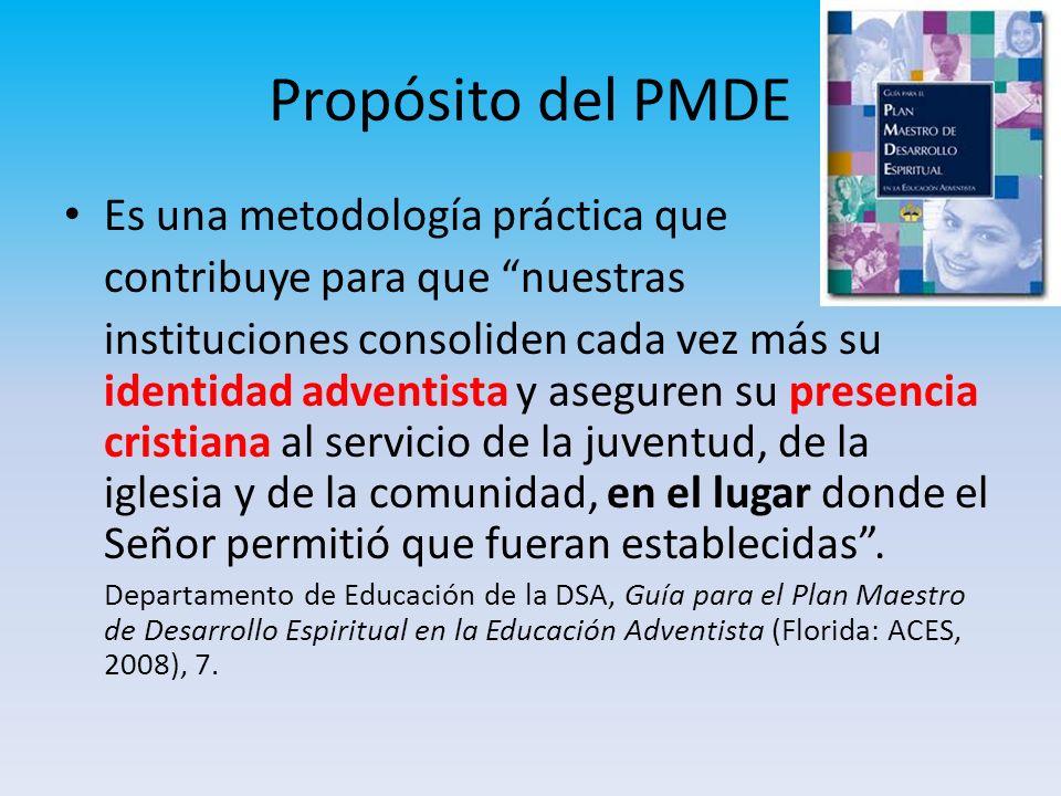 Propósito del PMDE Es una metodología práctica que