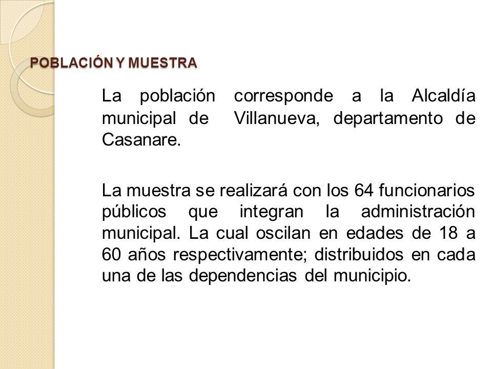 POBLACIÓN Y MUESTRA La población corresponde a la Alcaldía municipal de Villanueva, departamento de Casanare.