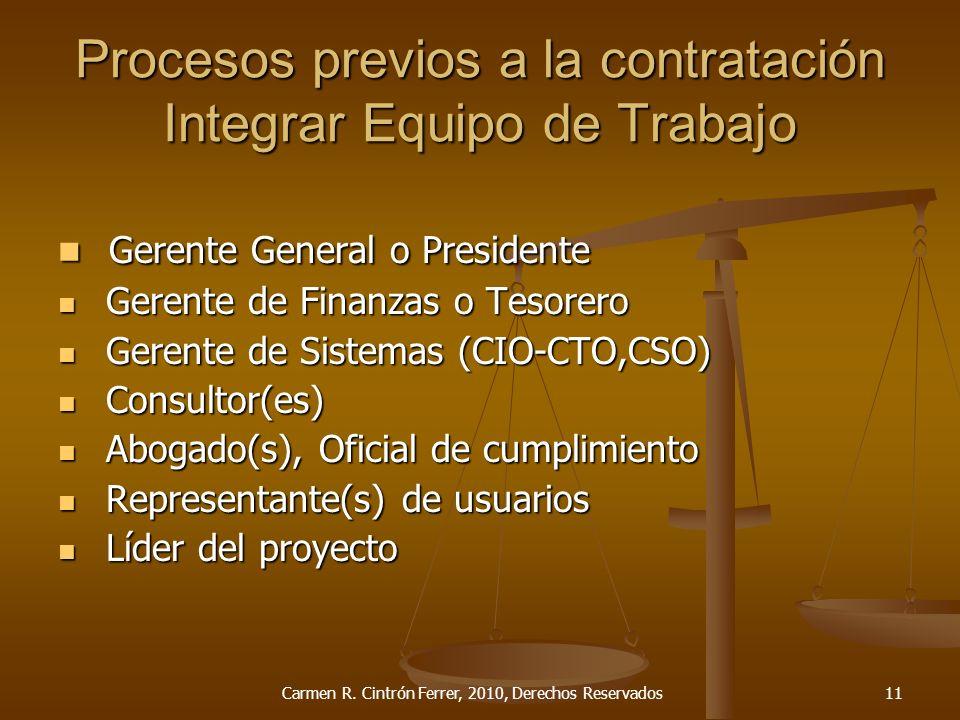 Procesos previos a la contratación Integrar Equipo de Trabajo