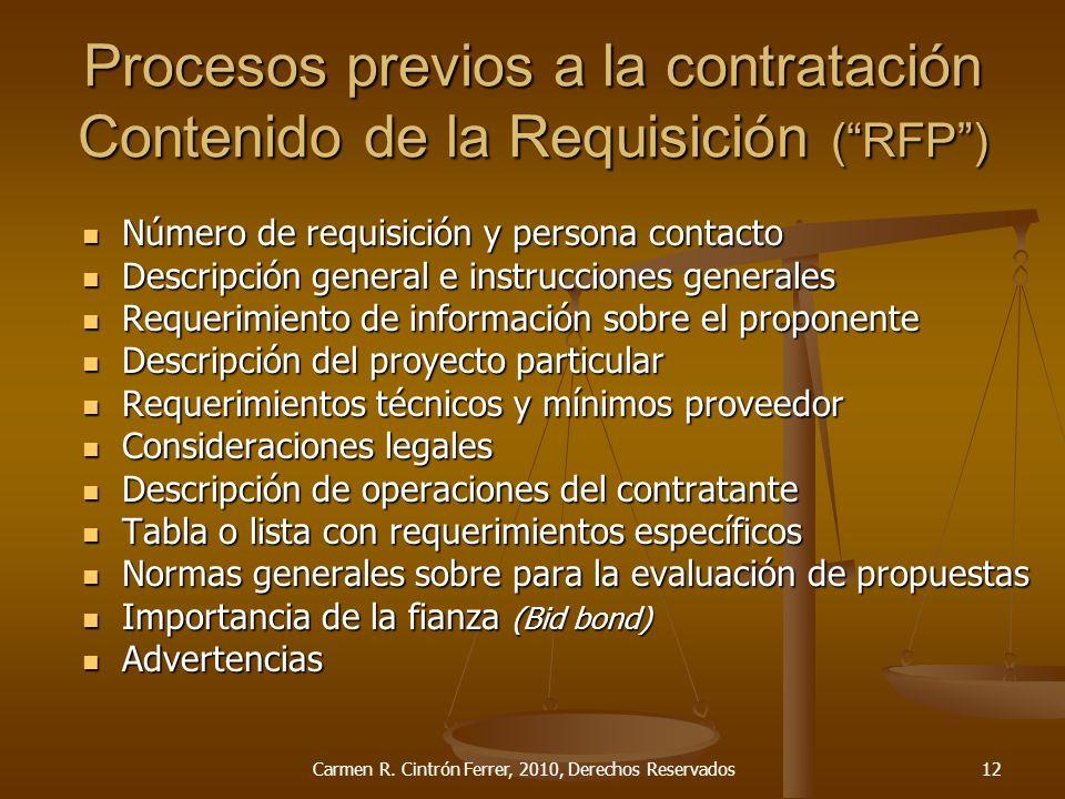 Procesos previos a la contratación Contenido de la Requisición ( RFP )