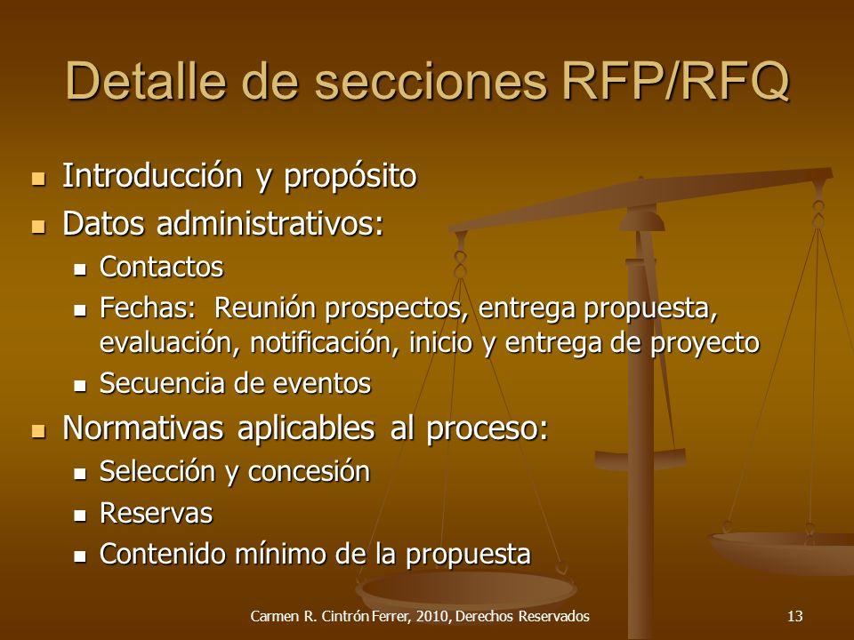 Detalle de secciones RFP/RFQ