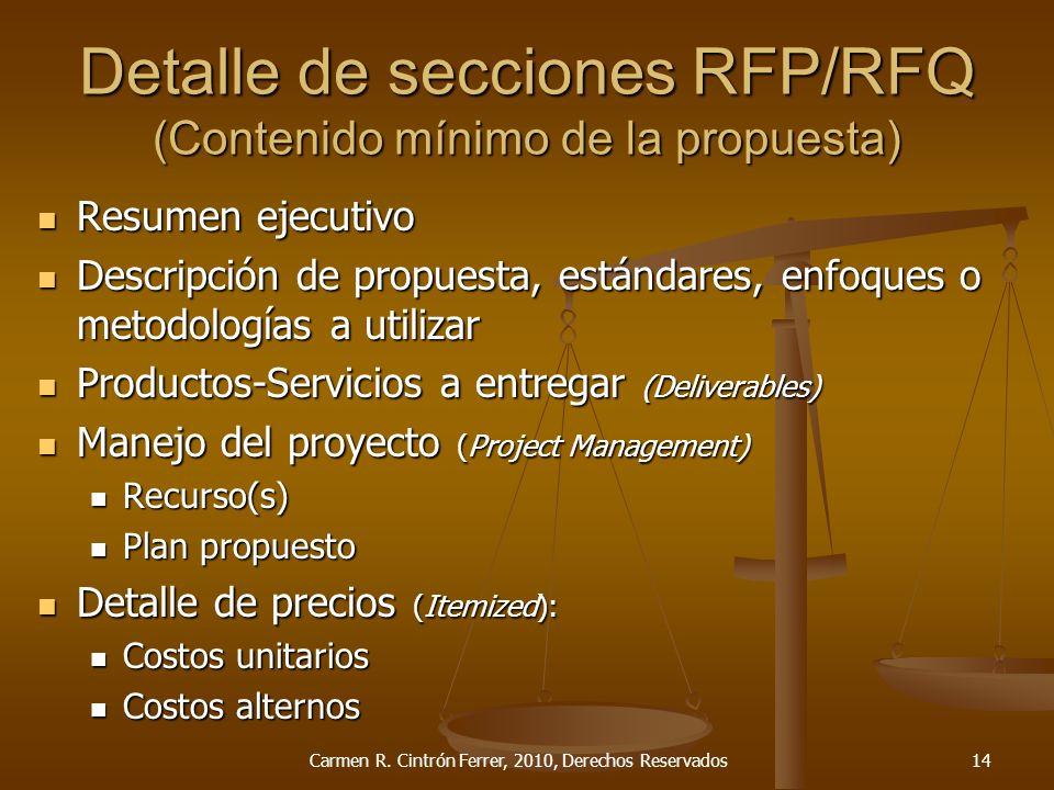 Detalle de secciones RFP/RFQ (Contenido mínimo de la propuesta)