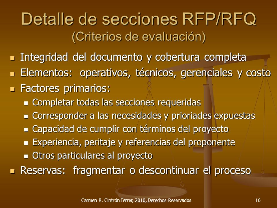 Detalle de secciones RFP/RFQ (Criterios de evaluación)
