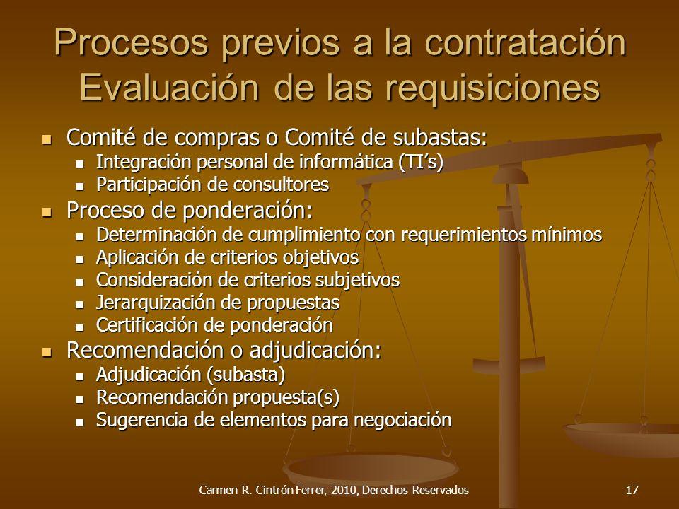 Procesos previos a la contratación Evaluación de las requisiciones