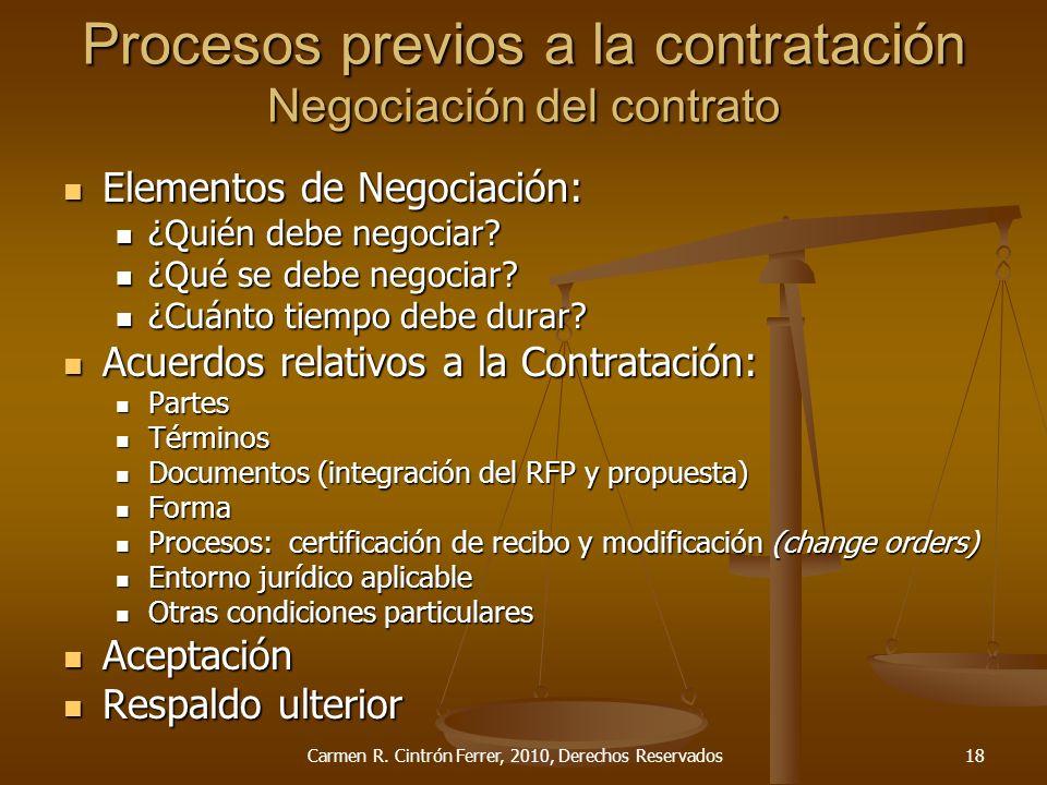 Procesos previos a la contratación Negociación del contrato