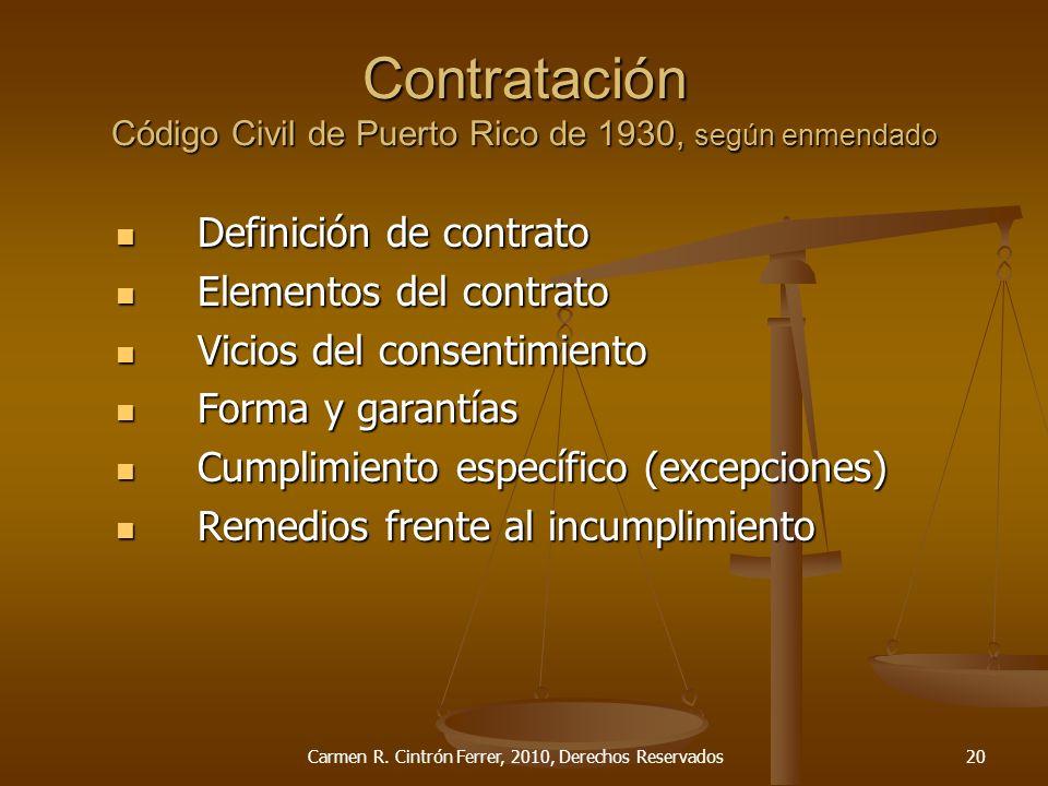 Contratación Código Civil de Puerto Rico de 1930, según enmendado