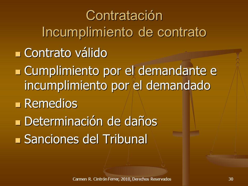 Contratación Incumplimiento de contrato