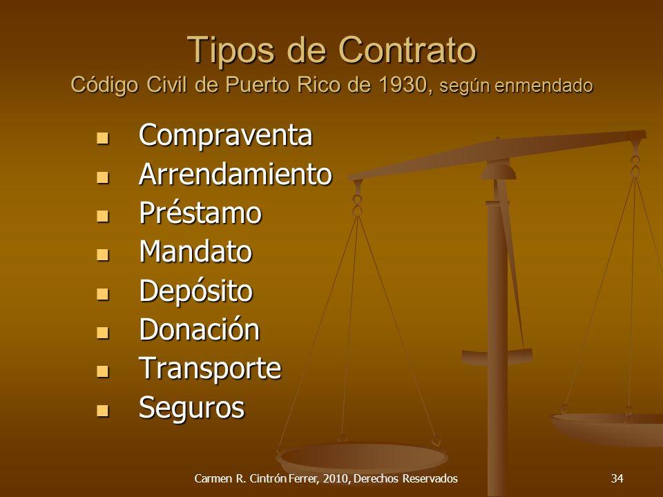 Tipos de Contrato Código Civil de Puerto Rico de 1930, según enmendado
