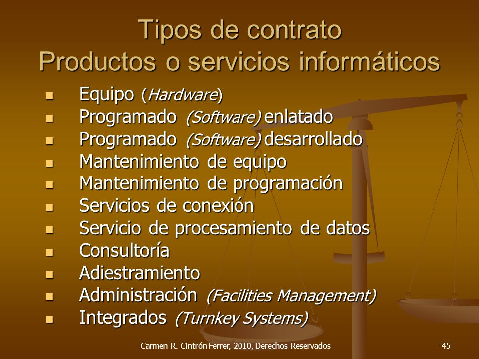 Tipos de contrato Productos o servicios informáticos