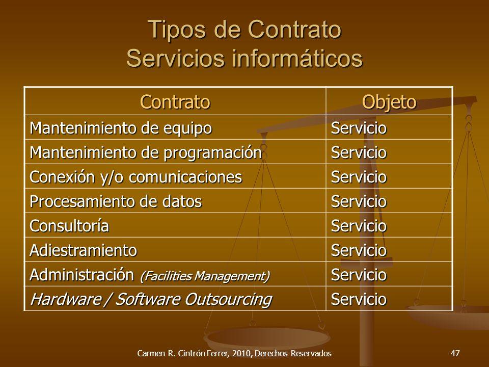 Tipos de Contrato Servicios informáticos