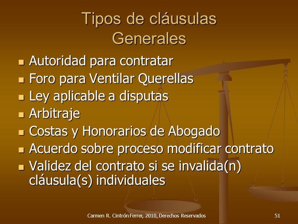 Tipos de cláusulas Generales
