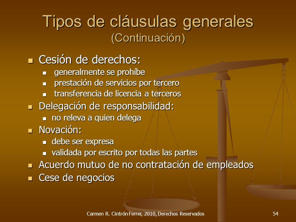 Tipos de cláusulas generales (Continuación)
