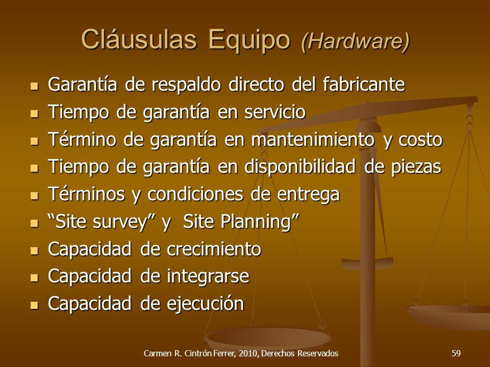 Cláusulas Equipo (Hardware)
