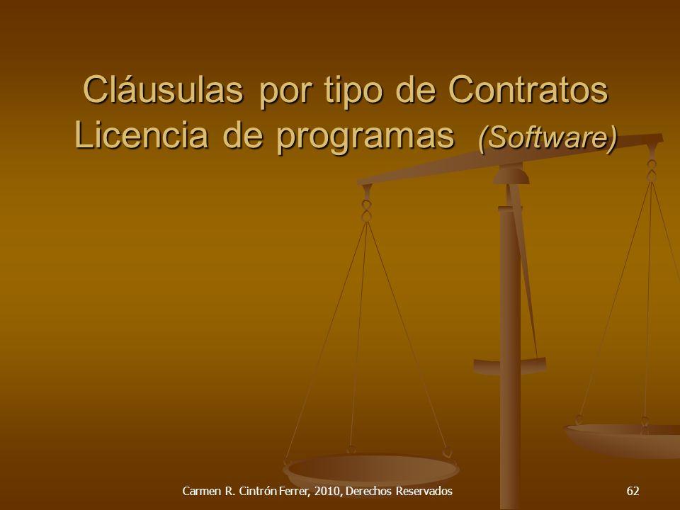 Cláusulas por tipo de Contratos Licencia de programas (Software)