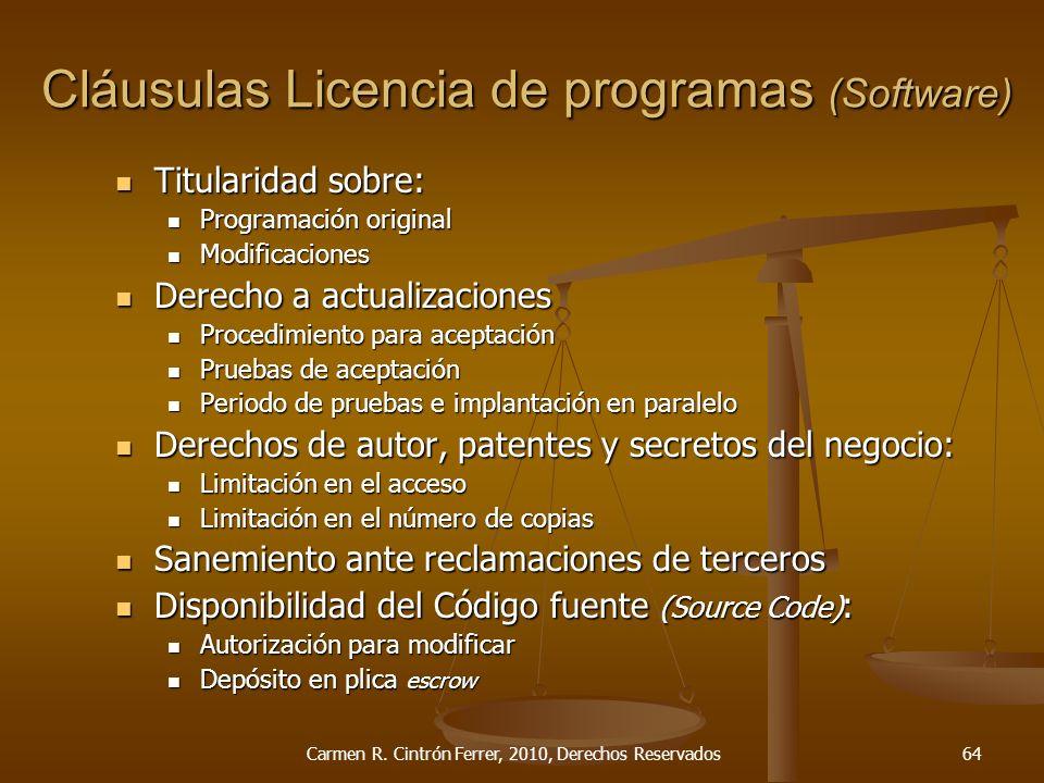 Cláusulas Licencia de programas (Software)