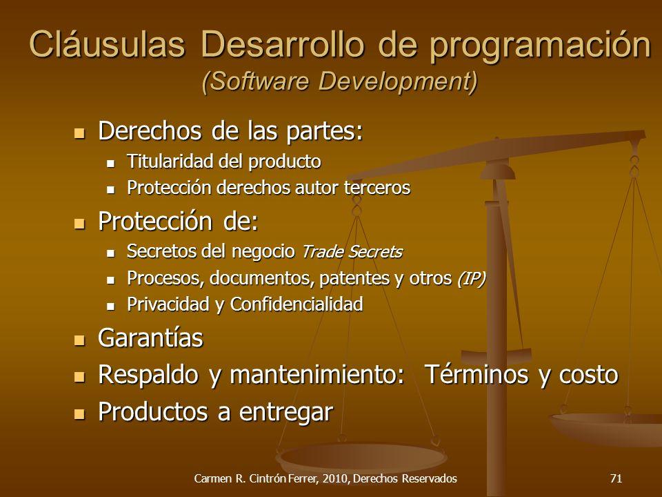 Cláusulas Desarrollo de programación (Software Development)