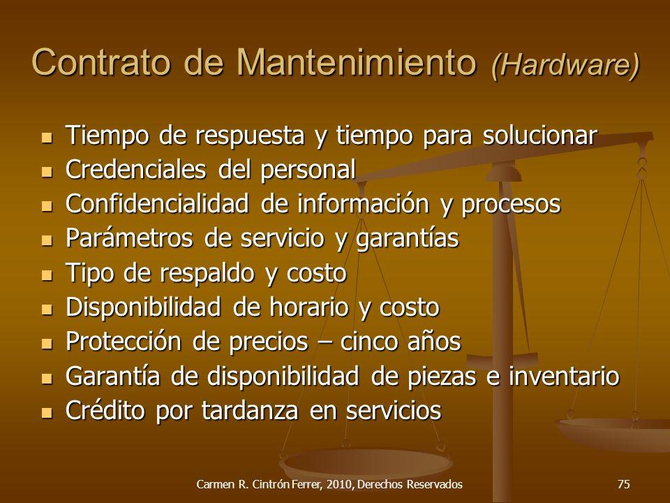 Contrato de Mantenimiento (Hardware)