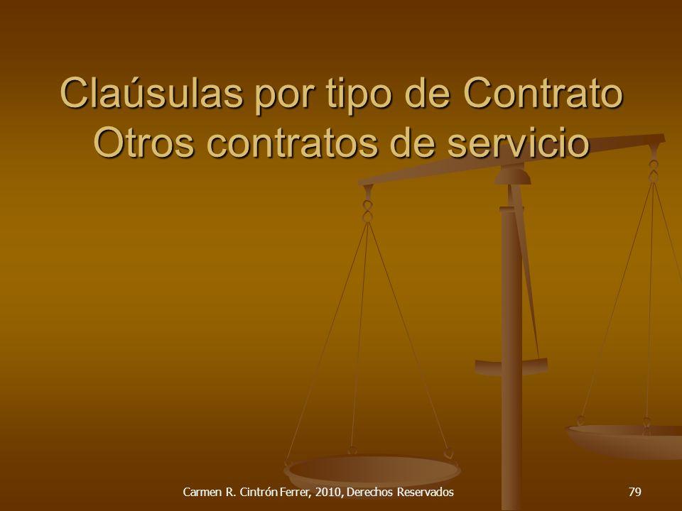 Claúsulas por tipo de Contrato Otros contratos de servicio