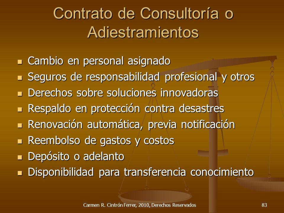 Contrato de Consultoría o Adiestramientos