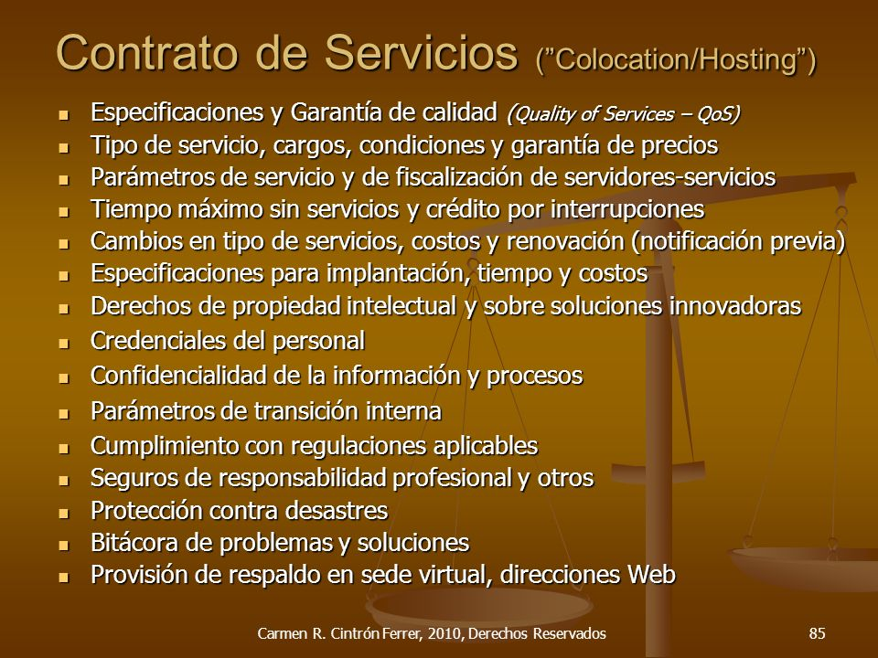 Contrato de Servicios ( Colocation/Hosting )