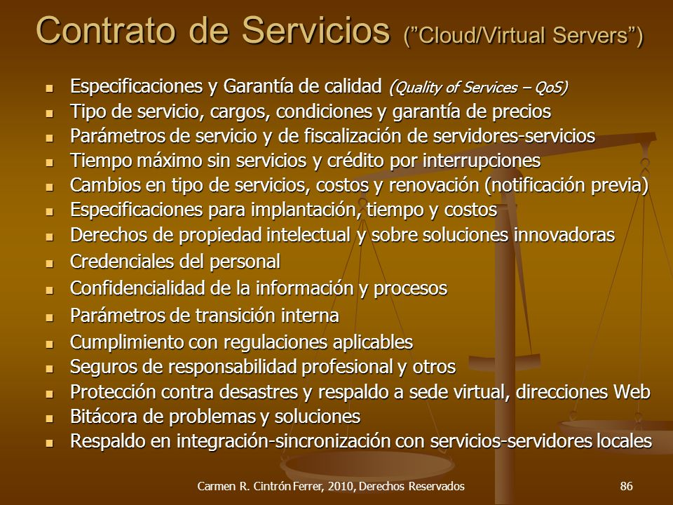 Contrato de Servicios ( Cloud/Virtual Servers )